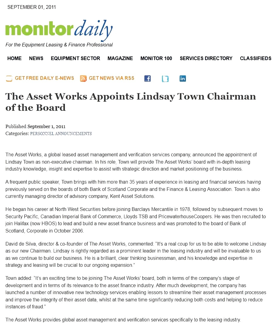the asset works the asset works appoints lindsay town chairman of the board